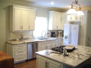 white kitchen marble countertops by hmcwoodwork.com atlanta